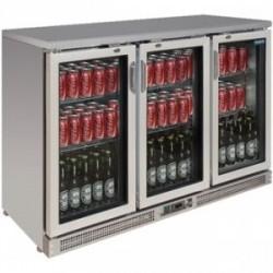 Vitrine réfrigérée de bar en inox 3 portes pivotantes
