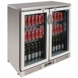 Vitrine réfrigérée de bar en inox 2 portes pivotantes